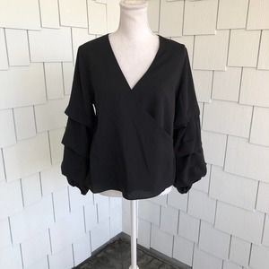 Bar III Black Tiered Sleeve Faux Wrap Top Size M